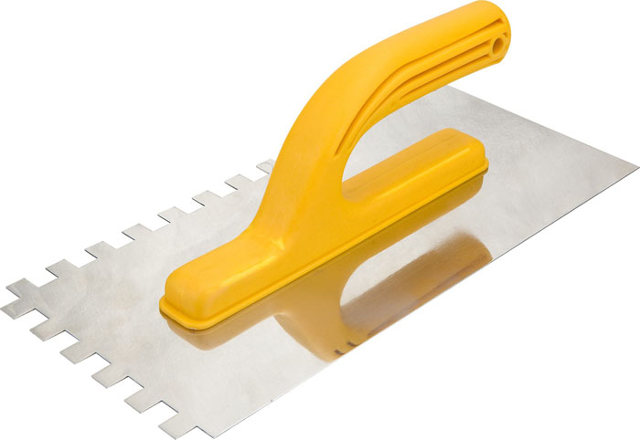 Гладилка для штукатурки зубчатая Topex, 270 х 130 мм 13A29013A290Гладилка для штукатурки зубчатая Торех - это инструмент, используемый для нанесения и распределения различных растворов по стенам, полу и потолку. Кроме этого, с её помощью сглаживаются швы и большие неровности. Характеристики: Материал: пластик, металл. Длина ручки: 12 см. Размеры гладилки: 27 см х 13 см. Размер зуба: 1 см х 1 см. Размеры упаковки: 27 см x 13 см x 9 см