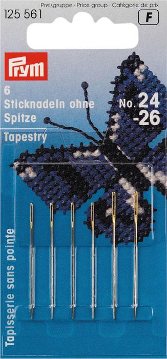 Иглы ручные Prym, для вышивки, №24-26, 6 шт материал для верха эспадрилий prym цвет морской песок 40 х 55 см