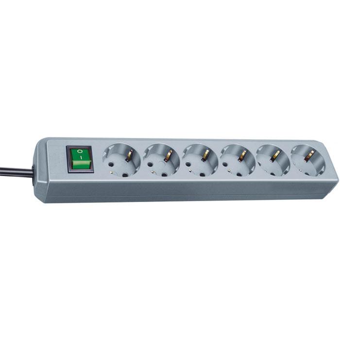 Удлинитель Eco-Line с выключателем, универсальный, 6 гнезд, 1,5 м, цвет: металлик старт 4607175852807 удлинитель 5 розеток с у s 5x3 длина провода 3 0 м заземления нет