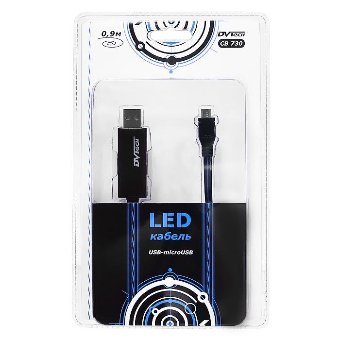 Фото - LED-кабель USB-micro USB DVTech CB 730, 0,9 м кабель dvtech cb402 plus usb psp зарядка обмен данными черный 1 2 м