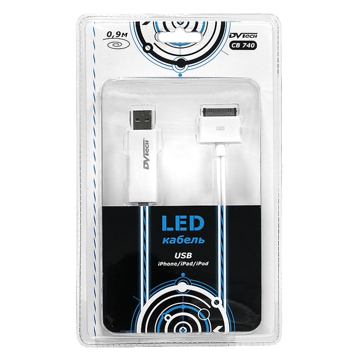 LED-кабель USB-iPhone / iPad / iPod DVTech CB 740, 0,9 м replacement earphone jack module for iphone 3g