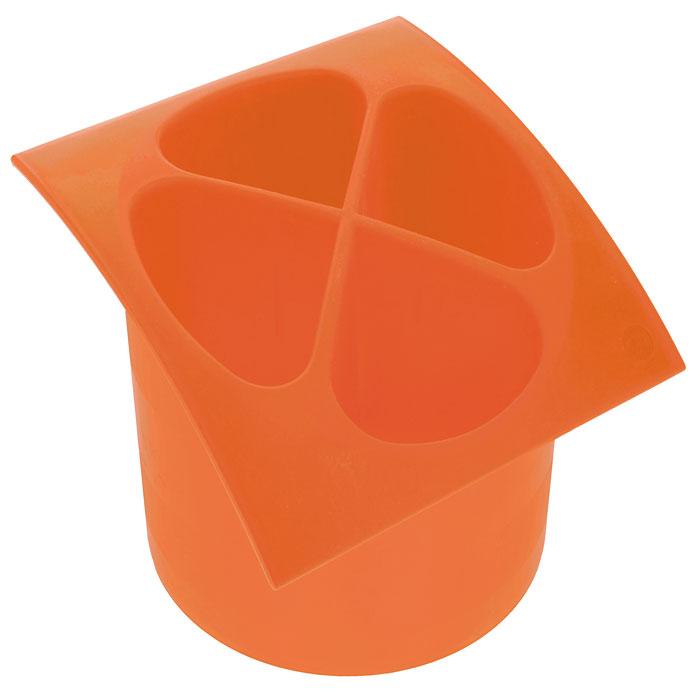 Подставка для столовых приборов Cosmoplast, цвет: оранжевый, диаметр 14 см подставка для столовых приборов kesperd с ручками цвет коричневый 38 х 32 х 4 см