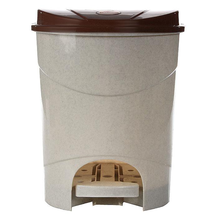 Контейнер для мусора Idea,с педалью, 11 л, цвет: бежевый, коричневый. М2891 контейнер для мусора idea хапс цвет коричневый мрамор 15 л