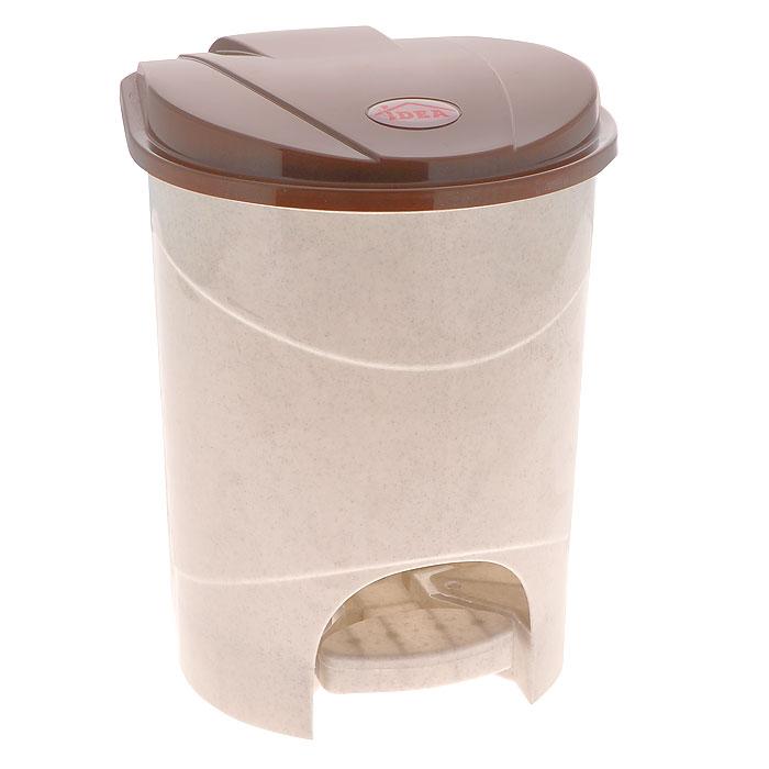 Контейнер для мусора Idea, с педалью, цвет: бежевый, коричневый, 7 л. М 2890 контейнер для мусора idea хапс цвет коричневый мрамор 15 л