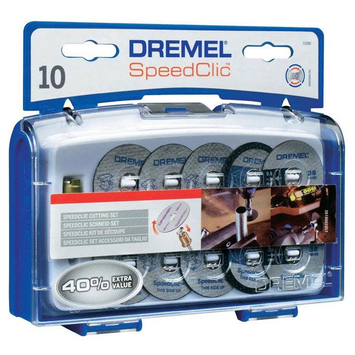 Набор отрезных кругов c держателем, 10 шт. Dremel SC690 (2615S690JA) держатель dremel 401