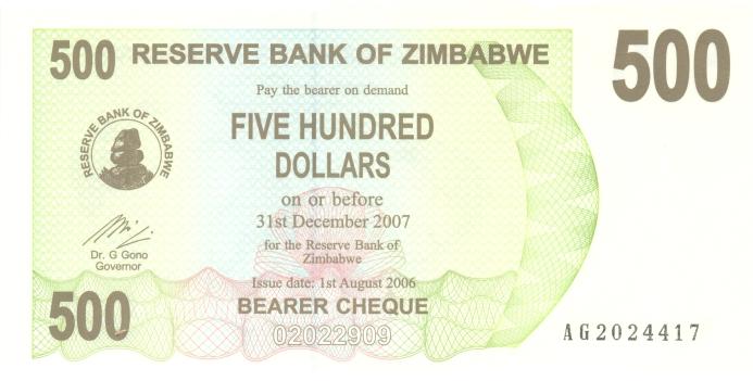 Банкнота номиналом 500 долларов. Зимбабве. 2006 год банкнота номиналом 500 долларов зимбабве 2006 год