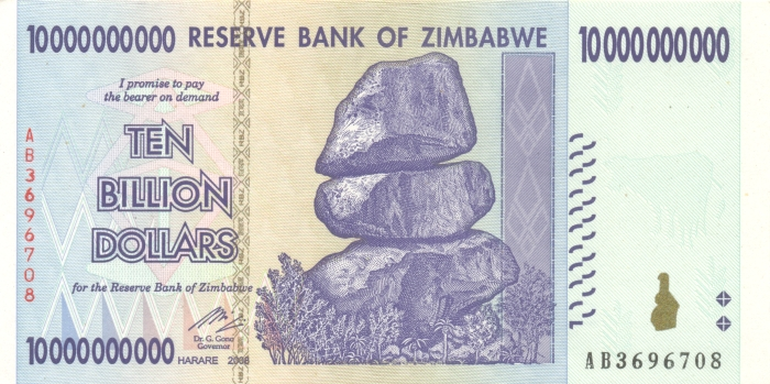 Банкнота номиналом 10 миллиардов долларов. Зимбабве, 2008 год банкнота номиналом 500 долларов зимбабве 2006 год