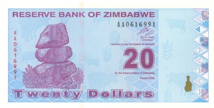 Банкнота номиналом 20 долларов. Зимбабве. 2009 год банкнота номиналом 500 долларов зимбабве 2006 год