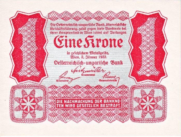 Банкнота номиналом 1 крона. Австрия. 1922 год банкнота австрия р75