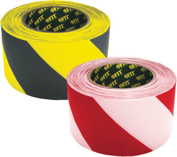 Лента разметочная Fit, самоклеящаяся, цвет: красно-белый, 50 мм х 25 м