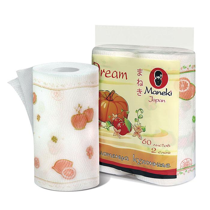 Полотенца кухонные бумажные Maneki Dream, двухслойные, цвет: белый, красный, 2 рулона полотенца кухонные belux 200 шт