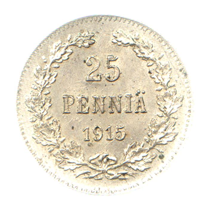цена на Монета номиналом 25 пенни. Белый металл. Финляндия в составе Российской Империи, 1915 год