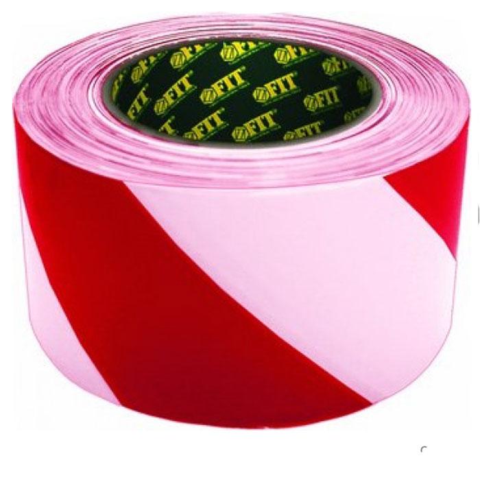 Лента сигнальная Fit, цвет: красно-белый, 50 мм х 100 м сигнальная лента зубр мастер цвет красно белый 75мм х 200м