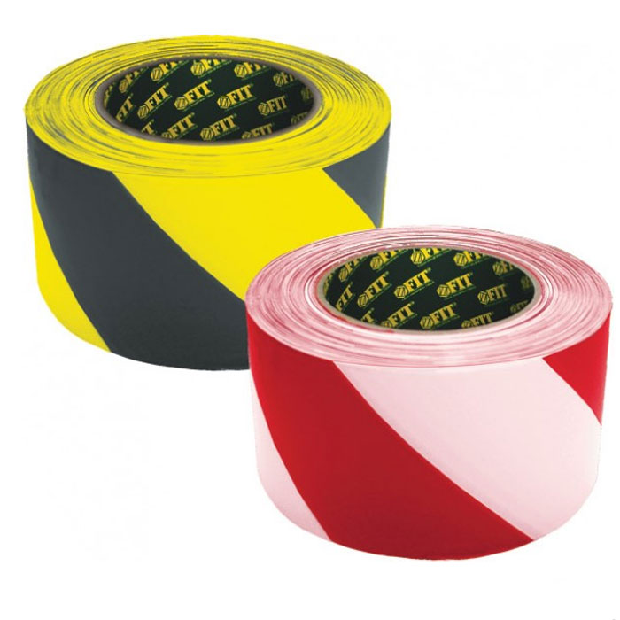 Лента разметочная Fit, самоклеящаяся, цвет: черно-желтый, 50 мм х 25 м лента сигнальная fit цвет черно желтый 50 мм х 100 м