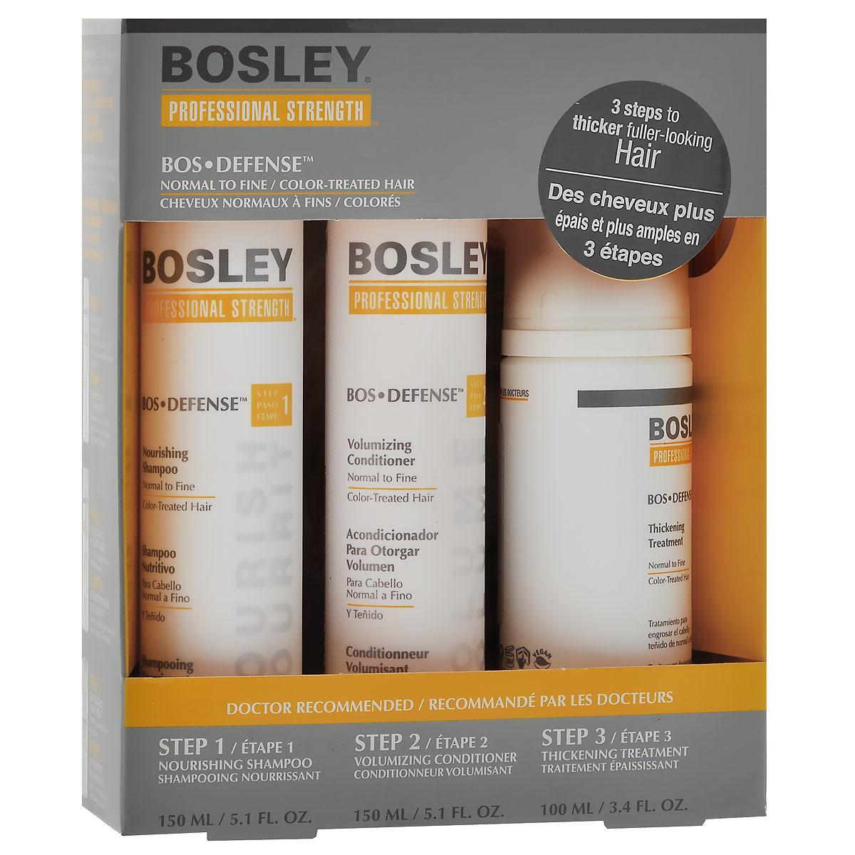 bosley шампунь питательный для нормальных тонких окрашенных волос 300 мл Bosley Набор для нормальных, тонких и окрашенных волос: шампунь, кондиционер, несмываемый уход