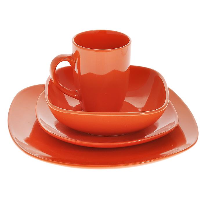 Набор столовый Besko, цвет: оранжевый, 4 предмета шарф женский ethnica цвет оранжевый бордовый 937350 размер 50 см х 170 см