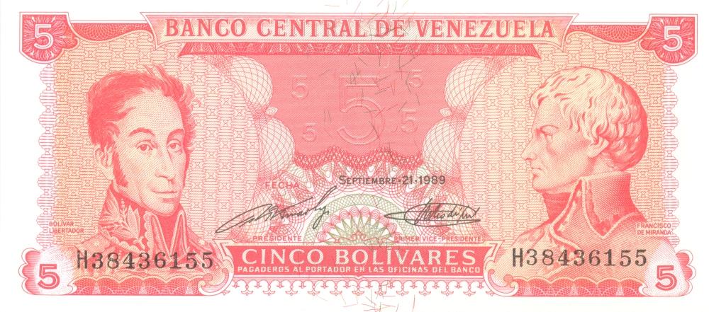 Банкнота номиналом 5 боливаров. Венесуэла. 1989 год банкнота номиналом 5 новых крузадо бразилия 1989 год