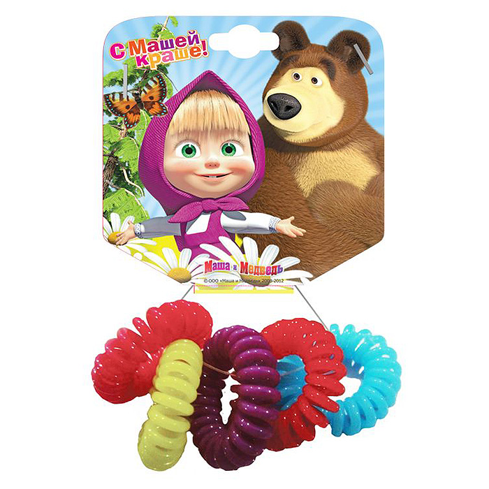 Маша и Медведь Резинка для волос Пружинки в цветовом дизайне 5 шт328484Необычная резинка для волос Маша и медведь Пружинки позволит украсить прическу вашей малышки и доставит ей много удовольствия. Резиночки выполнены из мягкого и гибкого пластика. Комплект включает пять резиночек разных цветов. Порадуйте свою юную модницу таким великолепным подарком! УВАЖАЕМЫЕ КЛИЕНТЫ! Обращаем ваше внимание на возможные изменения в цветовом дизайне, связанные с ассортиментом продукции. Поставка осуществляется в зависимости от наличия на складе.