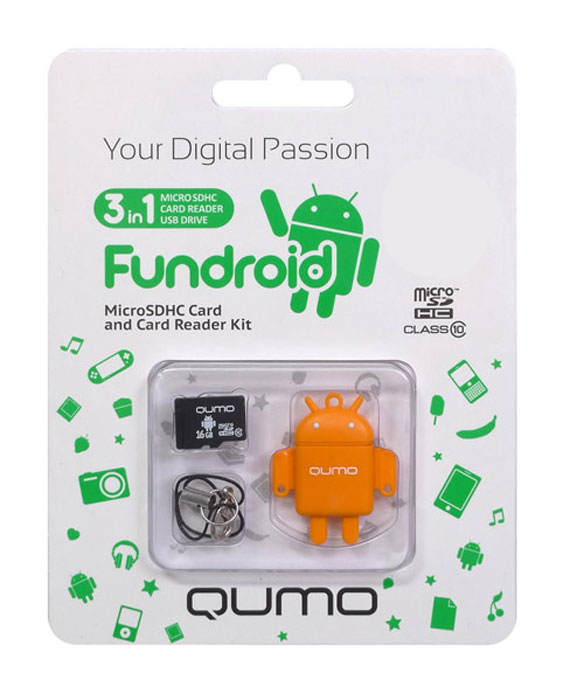 QUMO microSDHC Class 10 16GB + картридер/USB накопитель Fundroid, Orange