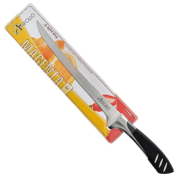 цена на Нож для рыбы Apollo Magenta, цвет: серебристый, черный, длина лезвия 20 см