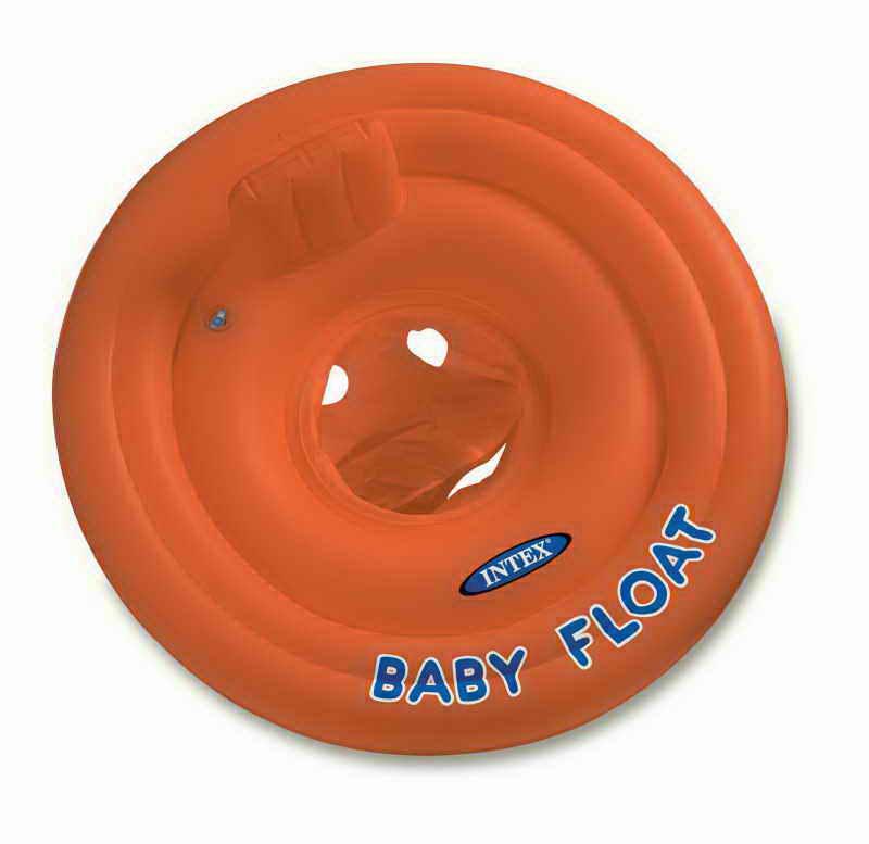 надувные батуты Круг-плот надувной Intex, цвет: оранжевый, 76 см