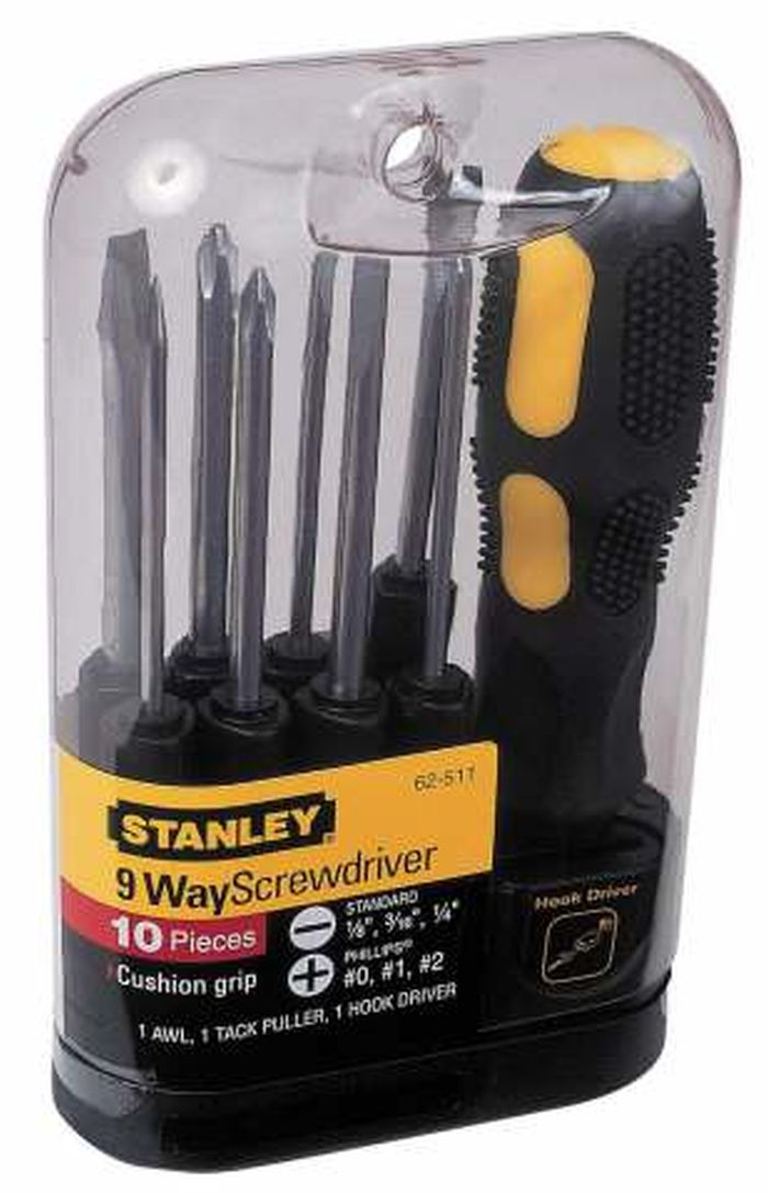 Отвертка Stanley со сменными вставками, 10 предметов отвертка stanley со сменными вставками 34 предмета stht0 70885