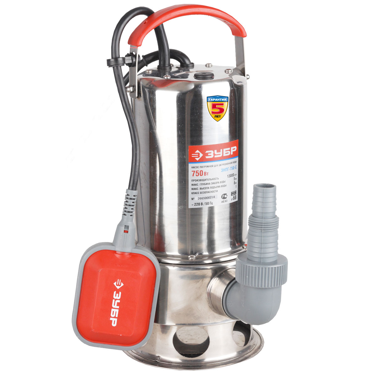 ЗУБР ЗНПГ-750-С насос погружной для грязной воды, 750Вт насос погружной зубр знпг 550
