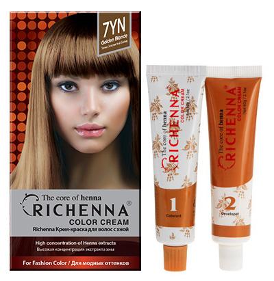 Крем-краска для волос Richenna с хной, 7YN. Золотой блонд крем краска для волос richenna с хной 6mb красное дерево
