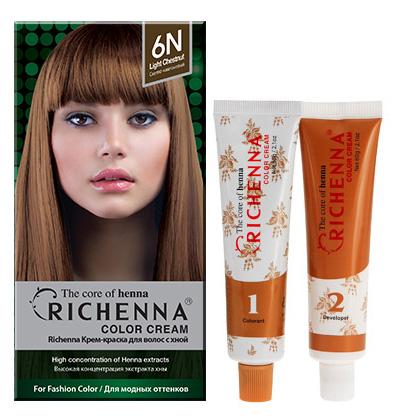Richenna Крем-краска для волос, с хной, оттенок 6N Светло-каштановый крем краска для волос richenna с хной 6mb красное дерево