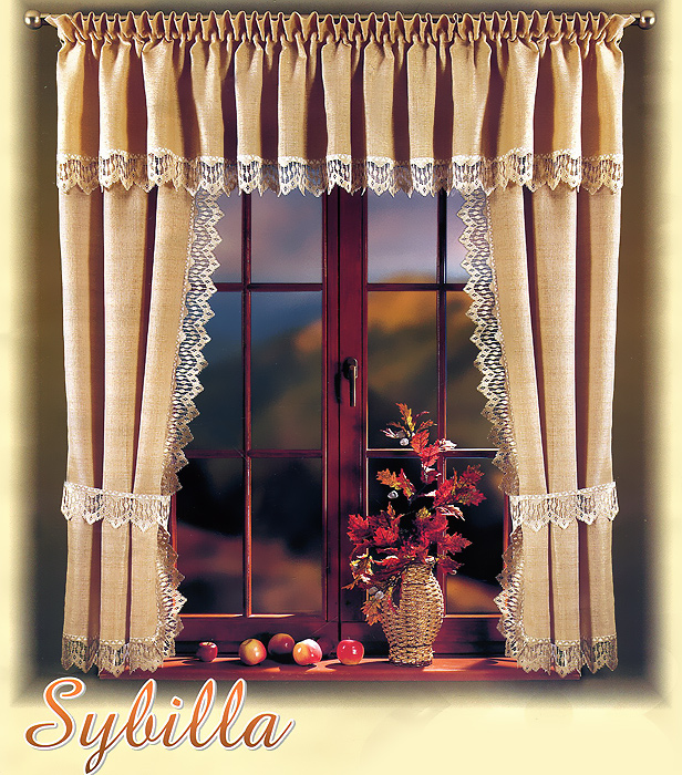 Комплект штор для кухни Sybilla, на кулиске, цвет: бежевый, высота 170 см шторы для кухни drdeco комплект штор basilic дизайн 9