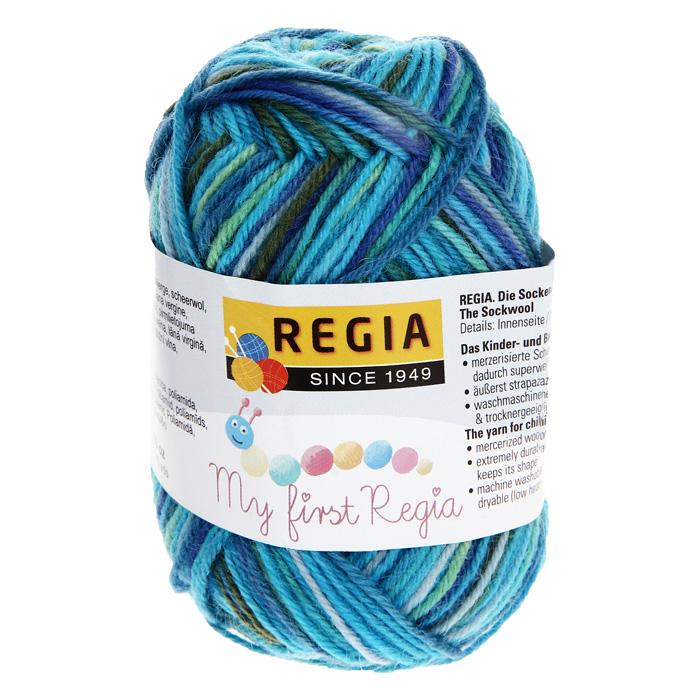 цена на Детская пряжа для вязания My First Regia, цвет: Marco color / голубой, зеленый, синий (01819), 105 м, 25 г