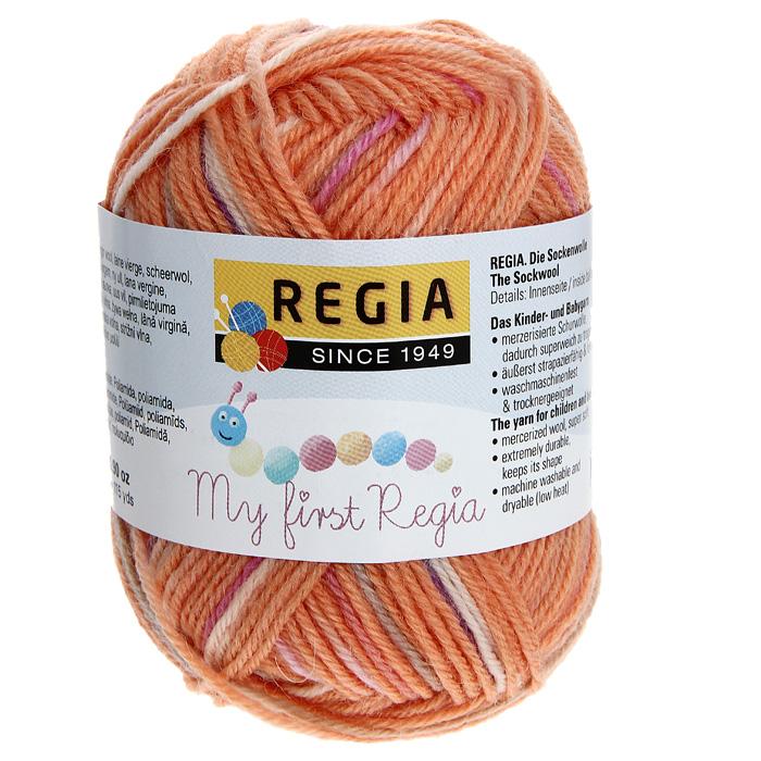 цена на Пряжа детская для вязания Regia My First Regia, цвет: Selina color / оранжевый, розовый, сиреневый (01814), 105 м, 25 г
