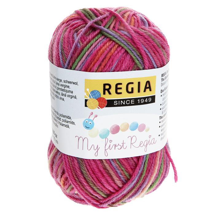 """Детская пряжа для вязания """"My First Regia"""", цвет: Svenja color / оранжевый, розовый, светло-зеленый (01816), 105 м, 25 г"""