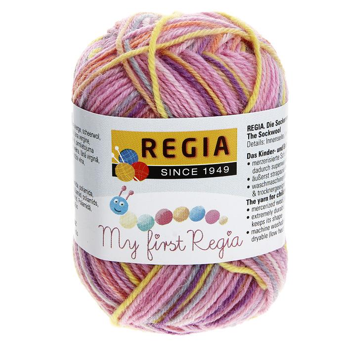 цена на Детская пряжа для вязания My First Regia, цвет: Lea color / желтый, светло-розовый, светло-серый (01815), 105 м, 25 г