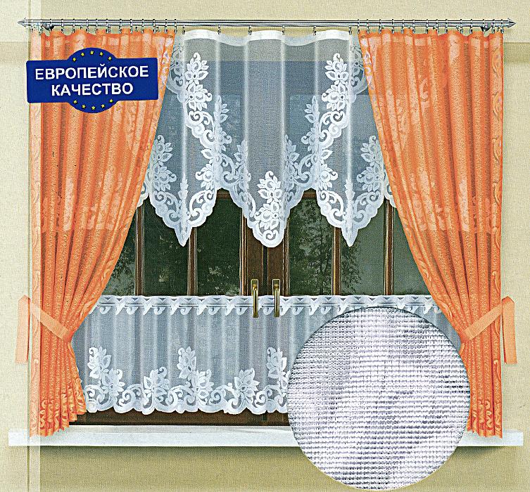 Комплект штор для кухни Zlata Korunka, на ленте, цвет: белый, оранжевый, высота 170 см. 587682 цена
