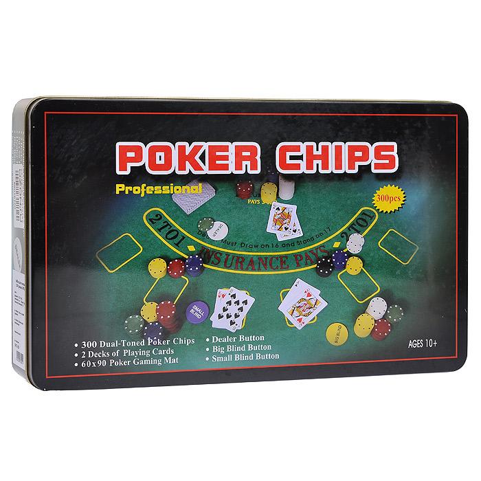 Набор для покера Perfecto Professional Poker Chips, 300 фишек, размер: 33х19х5. DPC-300 набор для покера perfecto texas hold em poker set dpc 200