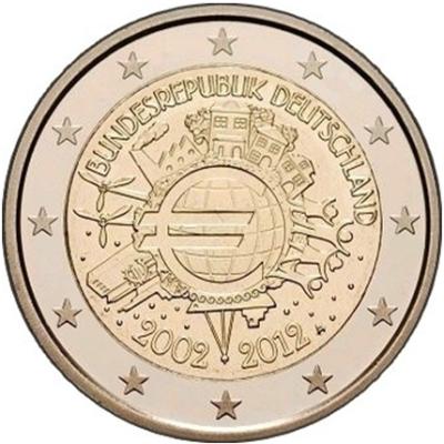 Монета номиналом 2 евро 10 лет введения наличных евро. Германия, 2012 год монета номиналом 2 евро 10 лет введения наличных евро германия 2012 год