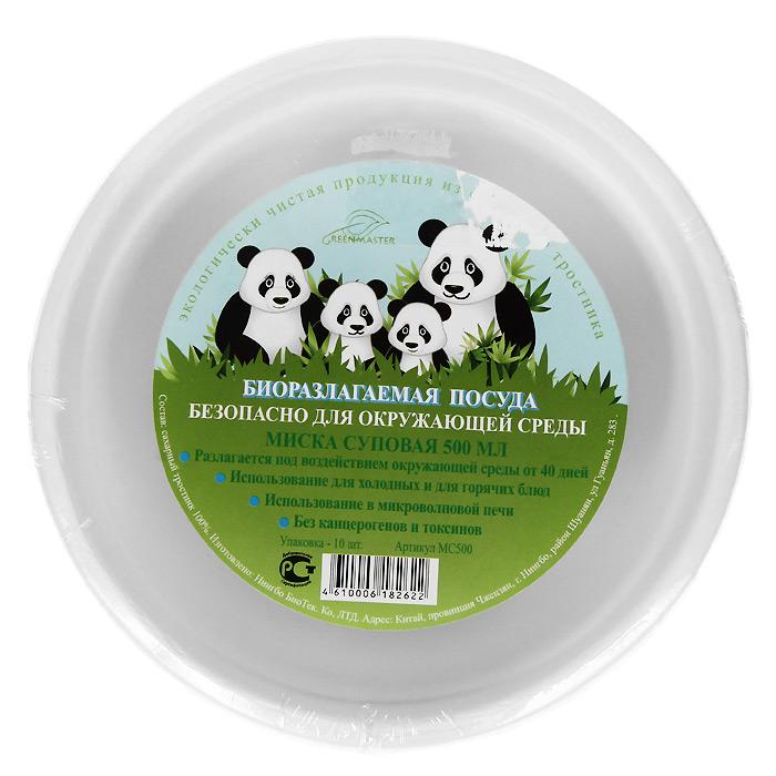 Набор суповых био-мисок Greenmaster, цвет: белый, 500 мл, 10 шт набор пластиковых мисок для супа celesta festival цвет белый 500 мл 12 шт