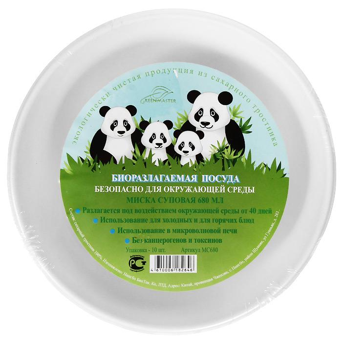 Набор суповых био-мисок Greenmaster, цвет: белый, 680 мл, 10 шт набор пластиковых мисок для супа celesta festival цвет белый 500 мл 12 шт