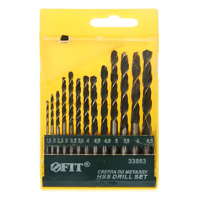 Набор сверл по металлу Fit черненых, 1,5-6,5 мм, 13 шт набор сверл металл 2 8 мм через 0 5 мм hss 13 шт цилиндрический хвостовик sparta