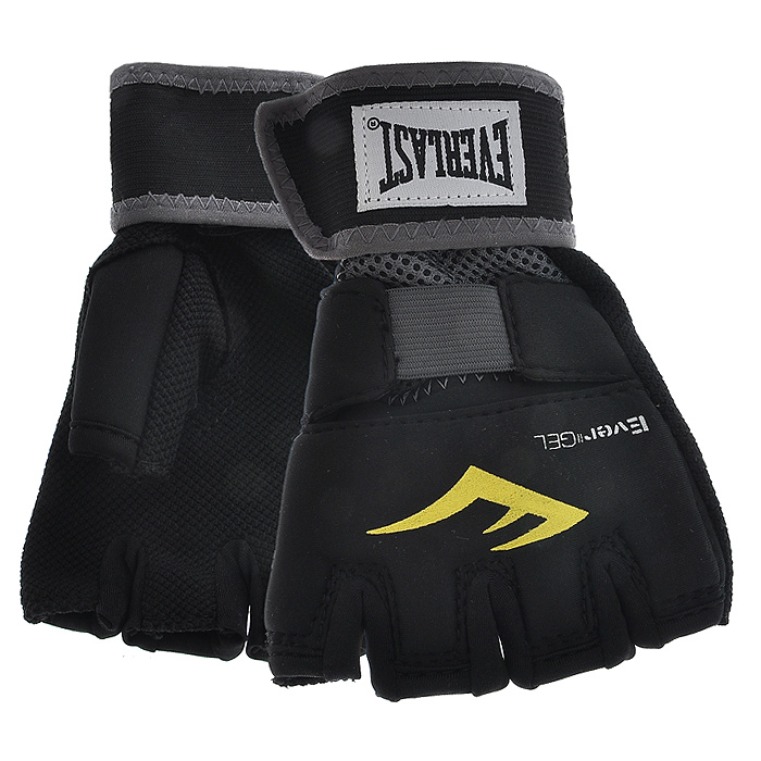 Перчатки гелевые Everlast Evergel, цвет: черный. Размер M цена