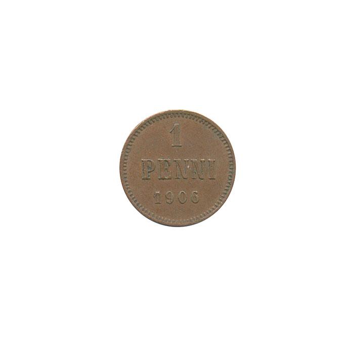 Монета номиналом 1 пенни. Медь. Финляндия в составе Российской Империи. 1906 год цена и фото