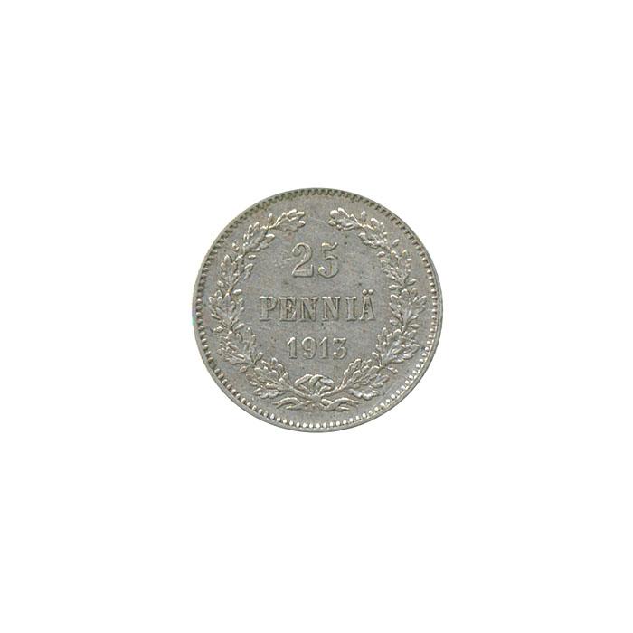 Монета номиналом 25 пенни. Белый металл. Финляндия в составе Российской Империи, 1913 год цена и фото