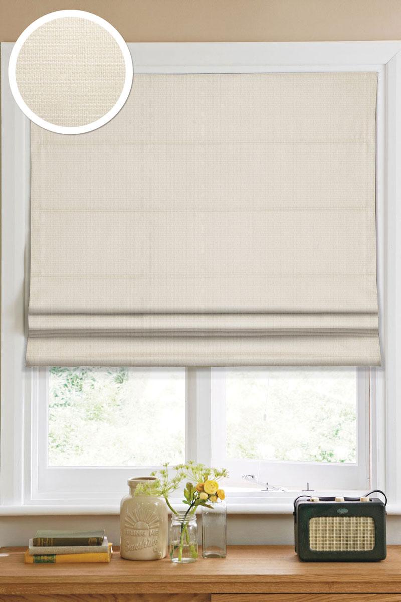 Римская штора Эскар, цвет: кремовый, ширина 100 см, высота 160 см1109100Римская штора Эскар, выполненная из высокопрочной ткани кремового цвета, является отличным заменителем обычных портьер. Ее можно установить там, где невозможно повесить обычные шторы. Конструкция шторы позволяет ее разместить даже на самых маленьких оконных проемах, а специальная пропитка ткани сделает данный вид декора окна эстетичным долгое время. Римская штора представляет собой полотно, по ширине которого параллельно друг другу вшиты пластиковые или деревянные рейки. На концах этих планок закреплены кольца, сквозь которые пропущен шнур. С его помощью осуществляется управление шторой. При движении шнура вниз происходит складывание полотна и его поднятие в верхнюю часть оконного проема. При закрывании шнур поднимается, а складки, образованные тканью, расправляются и опускаются на окно. Такая штора станет прекрасным элементом декора окна и гармонично впишется в интерьер любого помещения. Комплект для монтажа прилагается.
