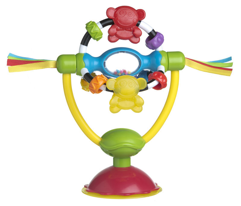 Playgro Развивающая игрушка-погремушка High Chair, на присоске0182212Развивающая игрушка-погремушка Playgro High Chair непременно понравится вашему малышу и надолго займет его внимание. Игрушка выполнена из безопасного пластика ярких цветов в виде погремушки на устойчивой ножке. Свободно поворачивающаяся конструкция погремушки представляет собой три дуги, на каждой из которых находятся два колечка с различной фактурой и фигурка-прорезыватель в виде обезьянки. В центре конструкции располагается элемент с двусторонним безопасным зеркальцем под прозрачным окошком. Внутри элемента находятся разноцветные шарики, гремящие при тряске.С помощью присоски игрушку можно закрепить на любой гладкой поверхности. Игрушка-погремушка Playgro High Chair поможет ребенку в развитии цветового и звукового восприятия, мелкой моторики рук и координации движений, а забавная обезьянка-прорезыватель сможет успокоить десны малыша в период прорезывания зубов. Рекомендуемый возраст: от 6 месяцев.