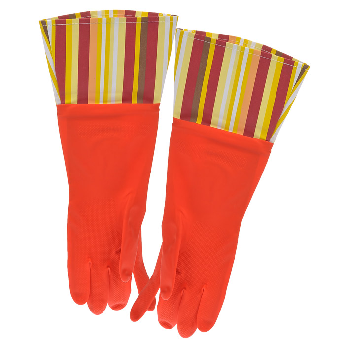 Перчатки резиновые, с манжетой из ПВХ, цвет: красный. Размер М. 29480