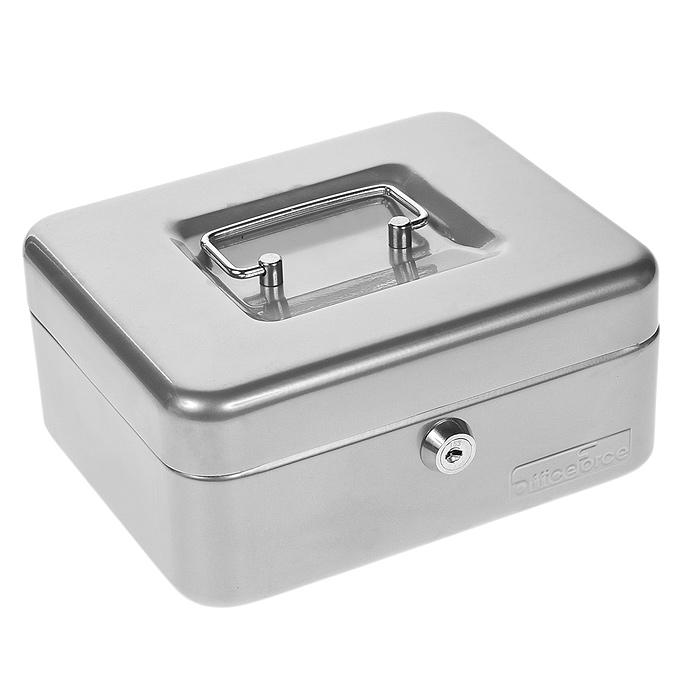 Кэшбокс Office-Force Т32, цвет: серебро, 20 см х 16 см х 9 см контейнер giaretti цвет кремовый прозрачный 29 2 х 17 х 11 см