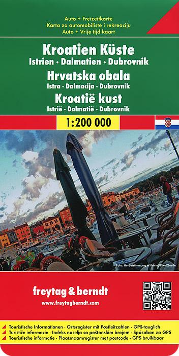Croatia Coast: Istria, Dalmatia, Dubrovnik: Road and Leisure Map
