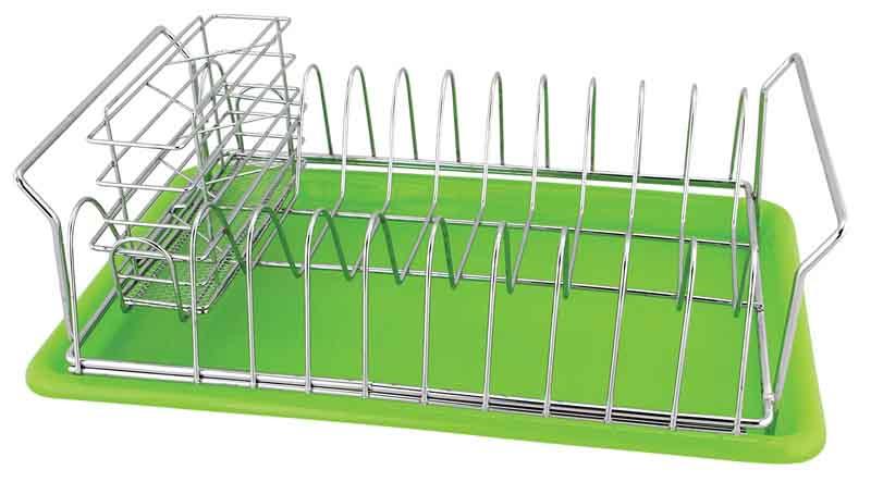 Сушилка для посуды Trina, с поддоном93-TR-10-01Сушилка для посуды Linea Trina выполнена из высококачественной нержавеющей стали, поддон салатового цвета изготовлен из пищевого пластика. В сушилке предусмотрены отделения для тарелок и для столовых приборов. Отделение для столовых приборов, разделенное на три секции, при необходимости вынимается. Благодаря конструкции с вместительным поддоном для сбора воды, вы не будете тратить время на вытирание посуды после мытья. Удобные ручки позволят перенести посуду прямо в сушилке. Стальная часть конструкции защищена от коррозии хромированным покрытием, что гарантирует ей продолжительное время эксплуатации и эстетичный внешний вид. Сушилка для посуды Linea Trina станет незаменимым помощником на кухне. Компактность сушилки позволит расположить ее по вашему усмотрению - на свободном крыле мойки, на столешнице или в навесных шкафах кухонного гарнитура. Оригинальный и современный внешний вид идеально дополнит интерьер кухонного пространства. Сушилка для посуды Linea Trina с поддоном это: высококачественные материалы изготовления, стальной хромированный пруток, пищевой пластик, съемный поддон, современный дизайн, мобильность и функциональность, прочность и долговечность. Характеристики: Материал: нержавеющая сталь, пластик. Размер сушилки: 37 см х 24 см х 14 см. Размер отделения для столовых приборов: 15,5 см х 10 см х 4,5 см. Размер упаковки: 38 см х 24 см х 13 см. Производитель: Италия. Артикул: 93-TR-10-01.
