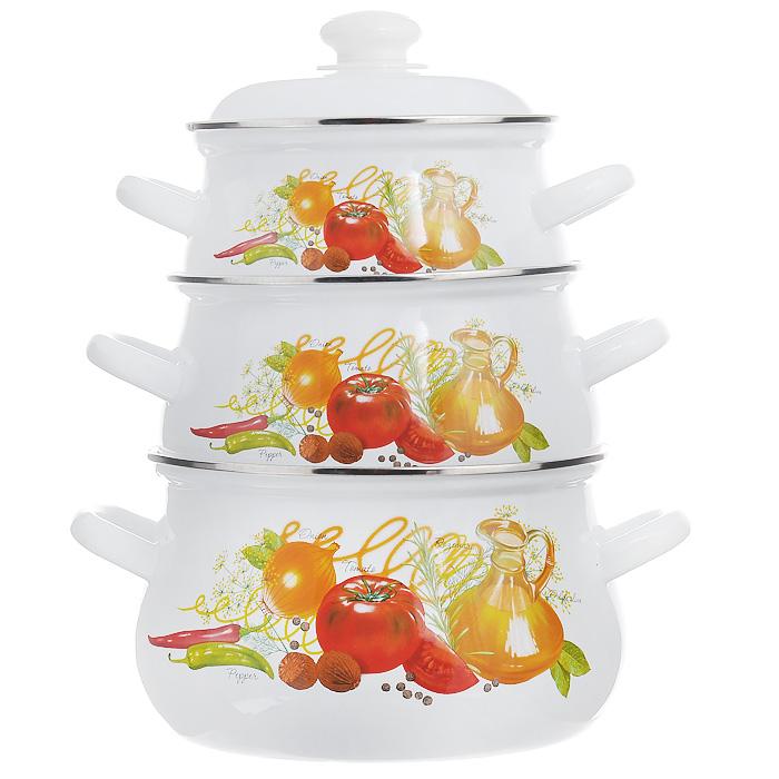 """Набор кастрюль """"Итальянская кухня"""" с крышками, цвет: белый, 3 шт"""